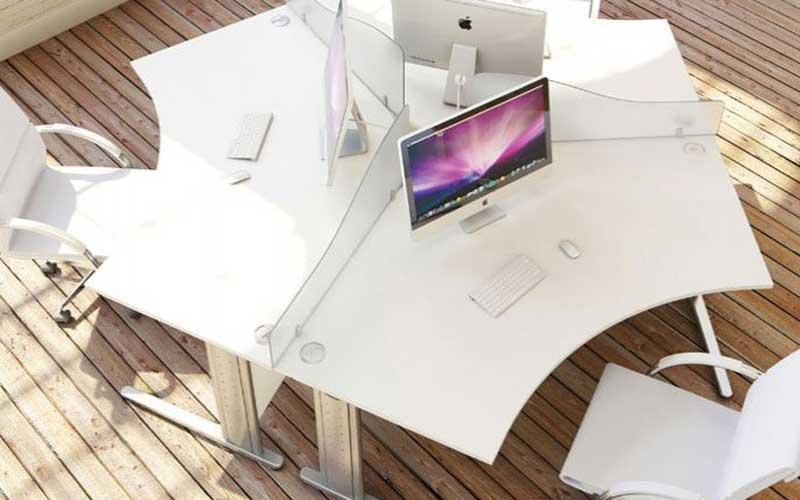 Three desks together