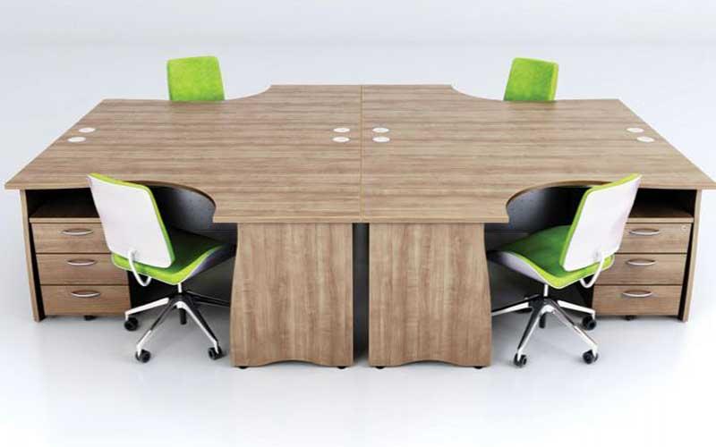 Green chairs, beech desk