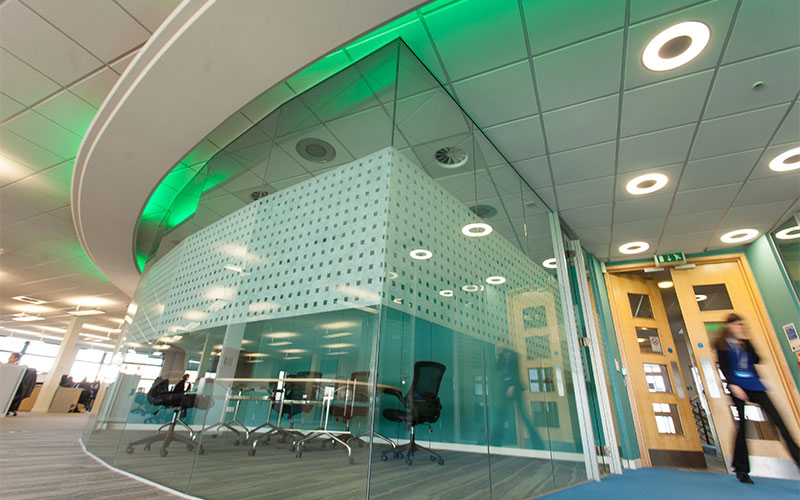 Green glass office wall