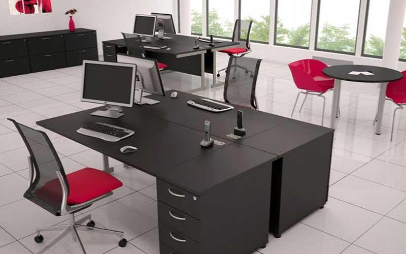 Black desks, red chairs